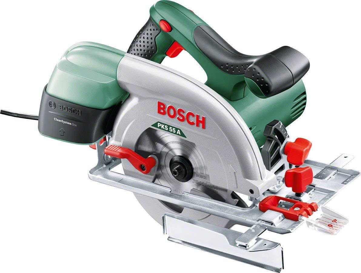 Bosch PKS 55 A - Sierra circular (disco de sierra, tope paralelo, caja de cartón, 5600 rpm, 1200 W)